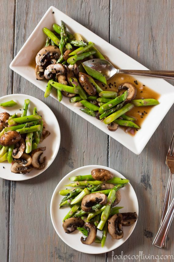 Asparagus and Portobello Mushroom Salad with Asian Dressing #salad #healthy