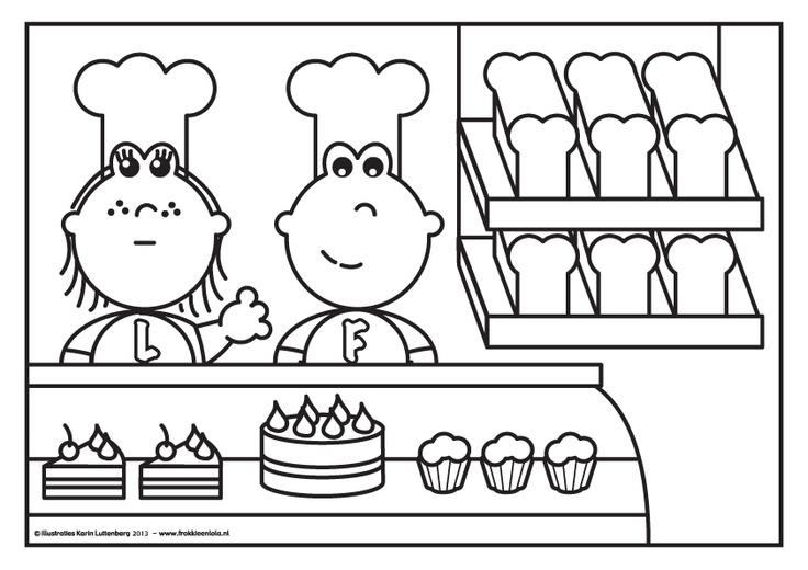 Kleurplaat Frokkie en Lola als bakker