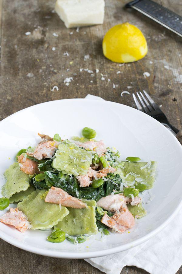 Spinazie ravioli met zalm | Snelle maaltijd | Pasta | via brendakookt.nl