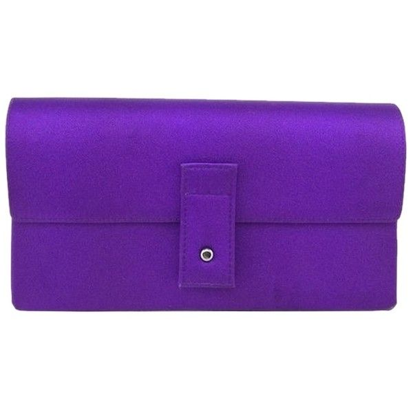 Pre-owned Gucci Satin Evening Purple Clutch (£150) ❤ liked on Polyvore featuring bags, handbags, clutches, purple, special occasion clutches, evening purse, pre owned handbags, purple purse and satin clutches