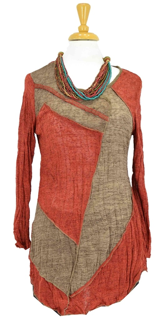 Burnt orange & light brown tunic    - Crinkle fabric  - Fabric is 65% cotton + 35% poly  - Fabric stretches lightly  - Long sleeve  - Uneven hem  - Round neck    Length    Size 10 is 77 cm  Size 14 is 82 cm  Size 18 is 89 cm