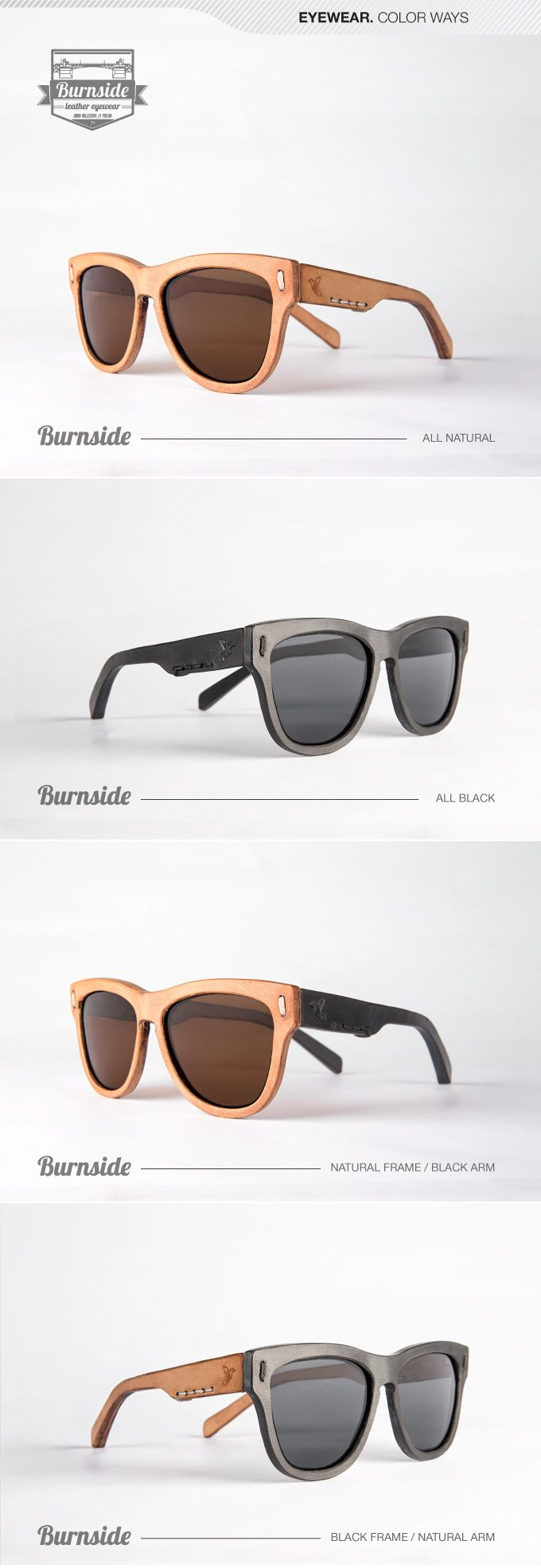 we are offering the very first all leather eyewear in 3 frames styles and 4 color