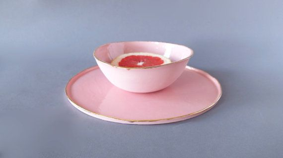Pink Porcelain Dinnerware Set Pottery Plates by SCULPTUREinDESIGN