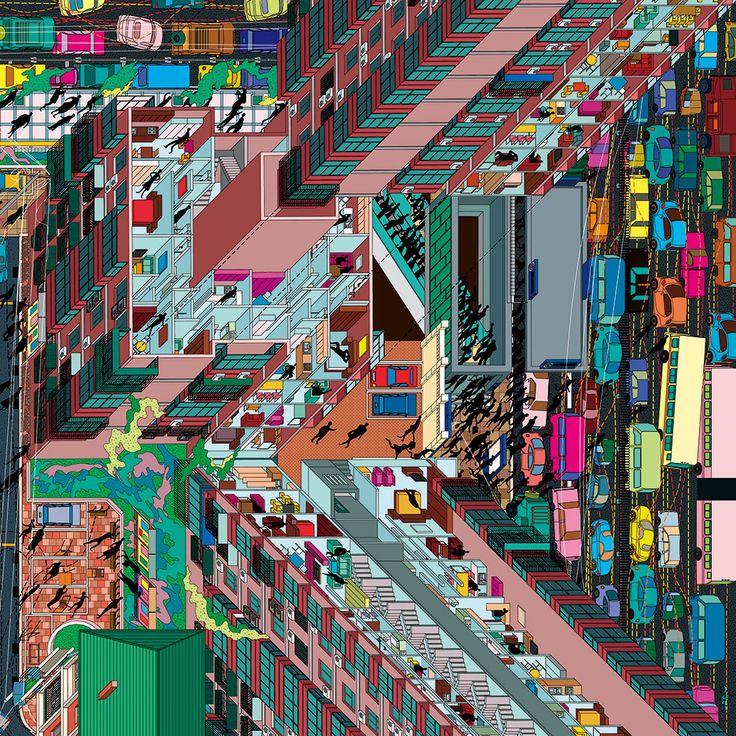 Isometric map by « Drawing architecture Studio » (China, Pekin-Beijing) with Li Han and Hu Yan (Tuan Jie Hu place)