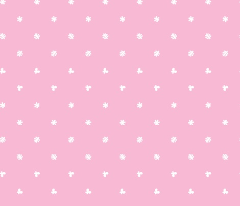 // Polka leaves flowers and butterflies Pink fabric by petitspixels on Spoonflower - custom fabric