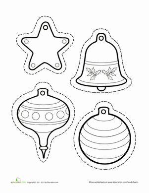 Christmas Winter Kindergarten Paper Projects Worksheets: Paper Christmas Ornaments Worksheet
