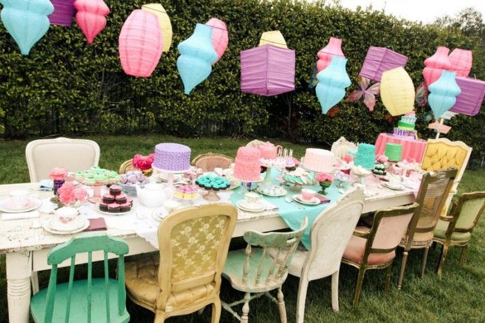 mad hatter tea party! love the chairs.