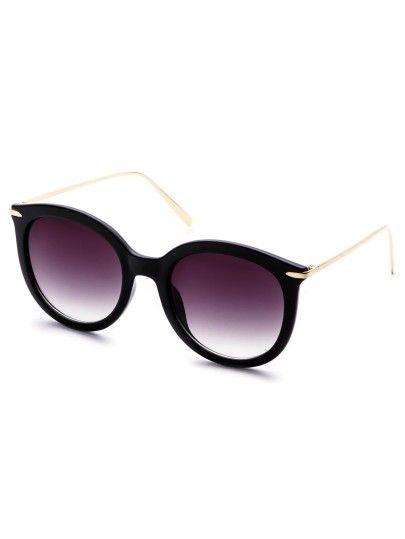 Gafas de sol marco en color negro brazo de metal-Sheinside