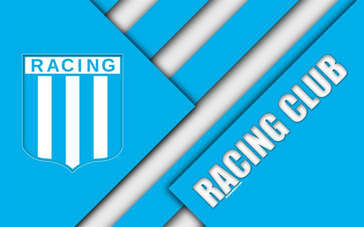 Download wallpapers Racing Club de Avellaneda, Argentine football club, 4k, logo, emblem, material design, white blue abstraction, Buenos Aires, Argentina, football, Argentine Superleague, First Division