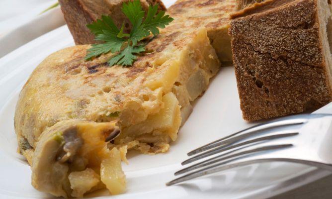 Receta de Tortilla de hongos y patatas