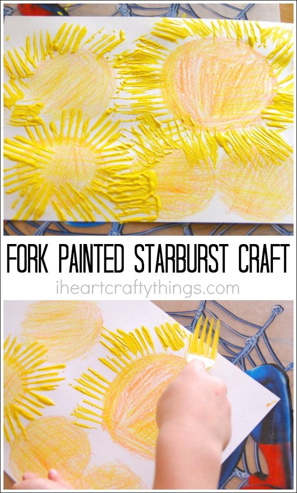 This starburst craft for kids is a fun summer art project for kids that uses forks for painting. Great summer craft for preschool or when learning about the stars or solar system.