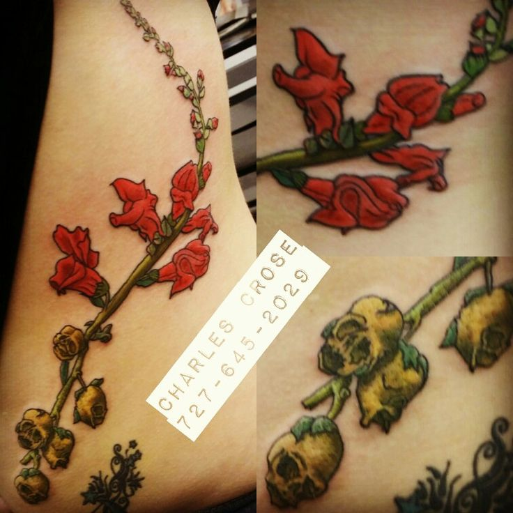 Snapdragon flower and dried flowers color tattoo.