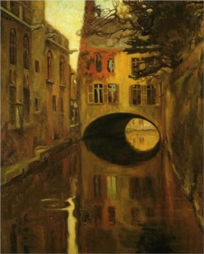 """House over the Bridge""  --  1909  --  Diego Rivera  --  Mexican  --  Oil on canvas  --  Belonging to the Museo Nacional de Arte, Munal Inba  --  Mexico City, Mexico"