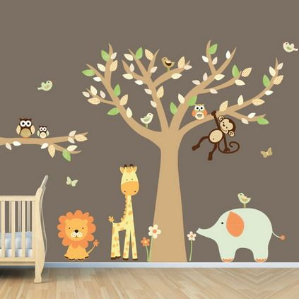 wild forest jungle animals cartoon wall stickers decals for kids bedroom - Wall Sticker Design Ideas
