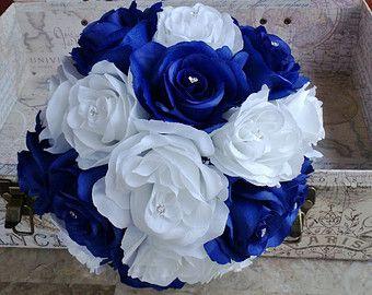 17 Piece Royal Blue & White Rose Wedding by SilkFlowersByJean