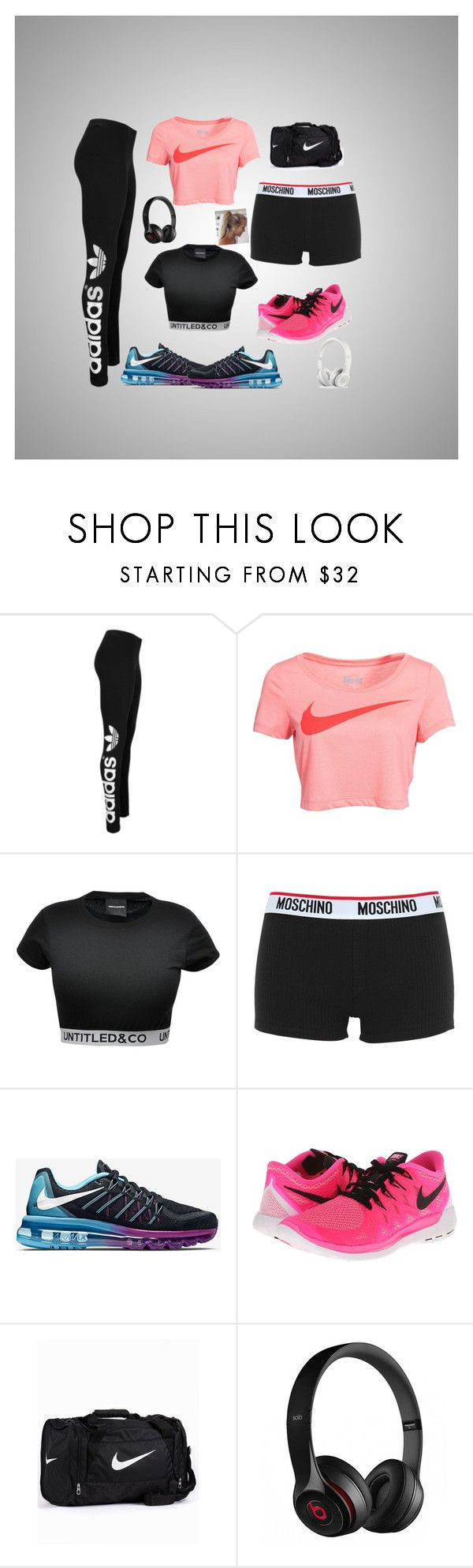 """GymBound"" by styler208 ❤ liked on Polyvore featuring adidas Originals, NIKE, CO, Moschino and Beats by Dr. Dre"