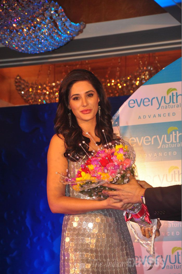 Nargis Fakhri at the launch of a beauty product in Mumbai.
