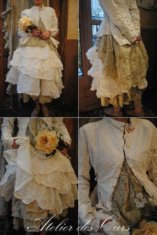 MLLE FLEURETTE : Veste en lin écru, chemise en coton liberty, jupon en organdi écru, jupon en coton liberty