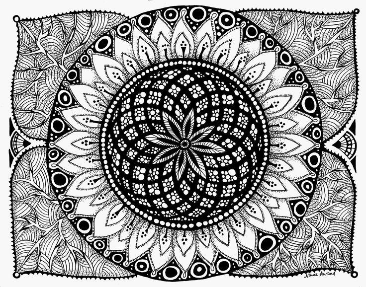 Zendala Sunflower 11x14in ink drawing by Nancy Aurand-Humpf. Art - Mandala  -  Zentangle