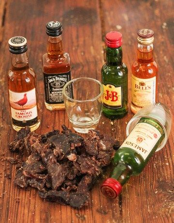 Assorted Mini Whiskey Bottles with Biltong