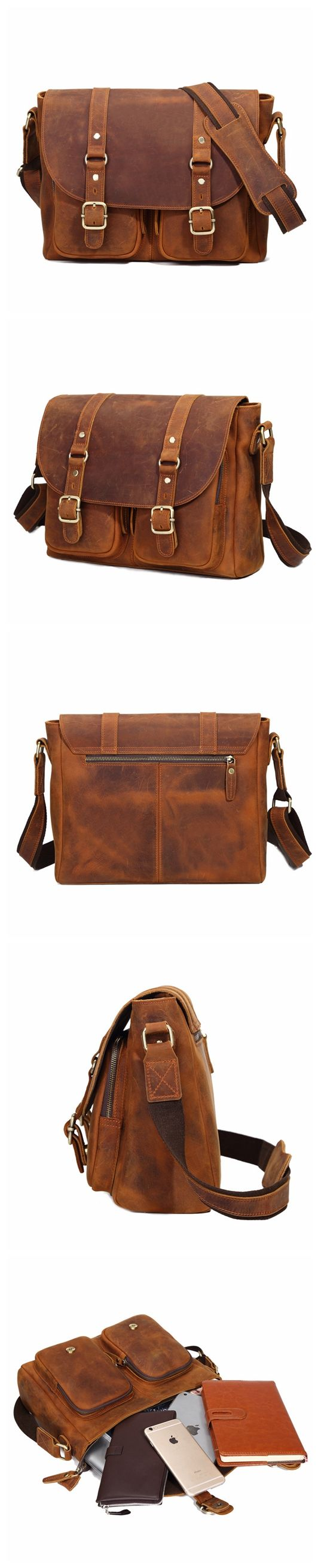 ROCKCOW Handmade Brown Leather Satchel Bag For Men, Messenger Shoulder Bag 8652
