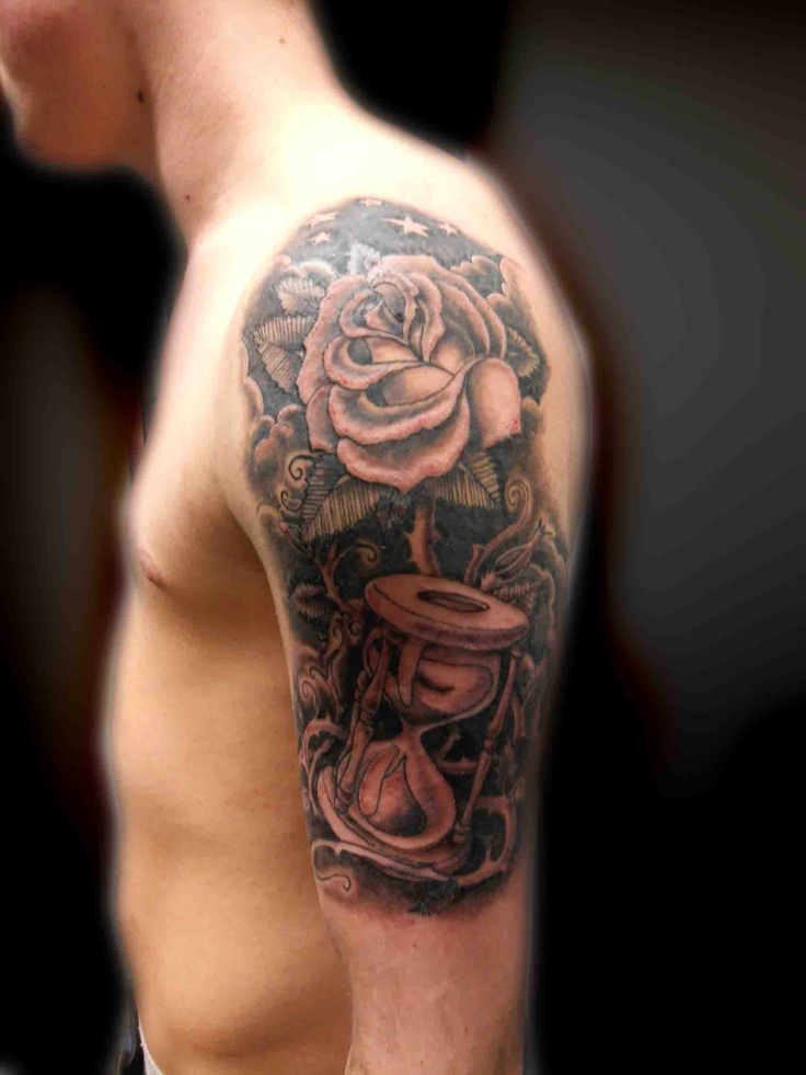 Black and grey shaded roses and time piece tattoo 2 for Time piece tattoos