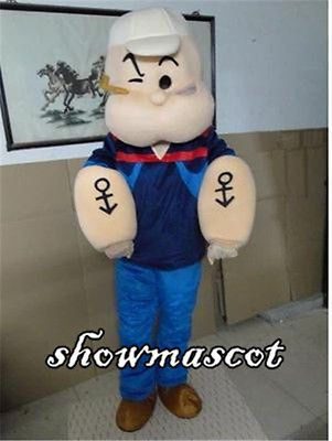 New Popeye The Sailor Man Cartoon Mascot Costume Outfit Free Shipping Adult Size