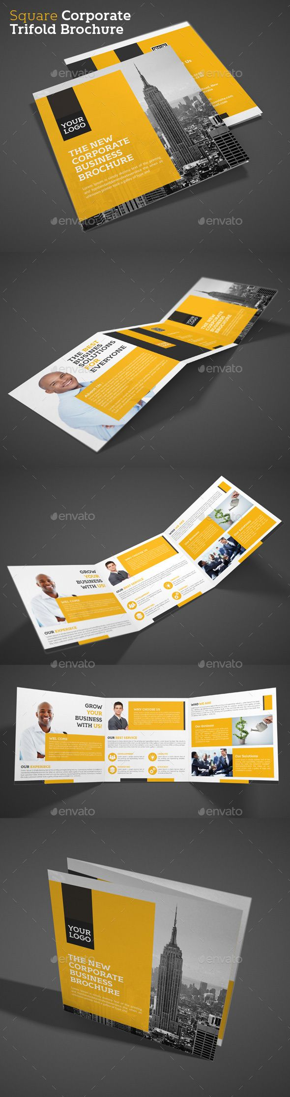 Square Corporate Trifold Brochure Template PSD #design Download…