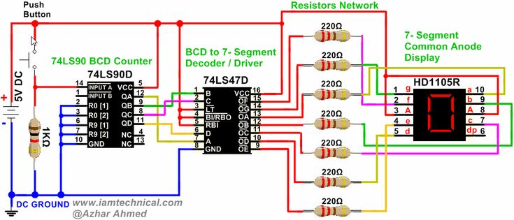 Driving a Seven Segment Display Using 74LS90 BCD Decade Counter '0' to '9' | IamTechnical.com