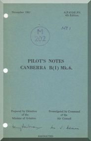 English Electric Canberra B Mk.6  Aircraft  Pilot's Notes Manual  AP 4326F