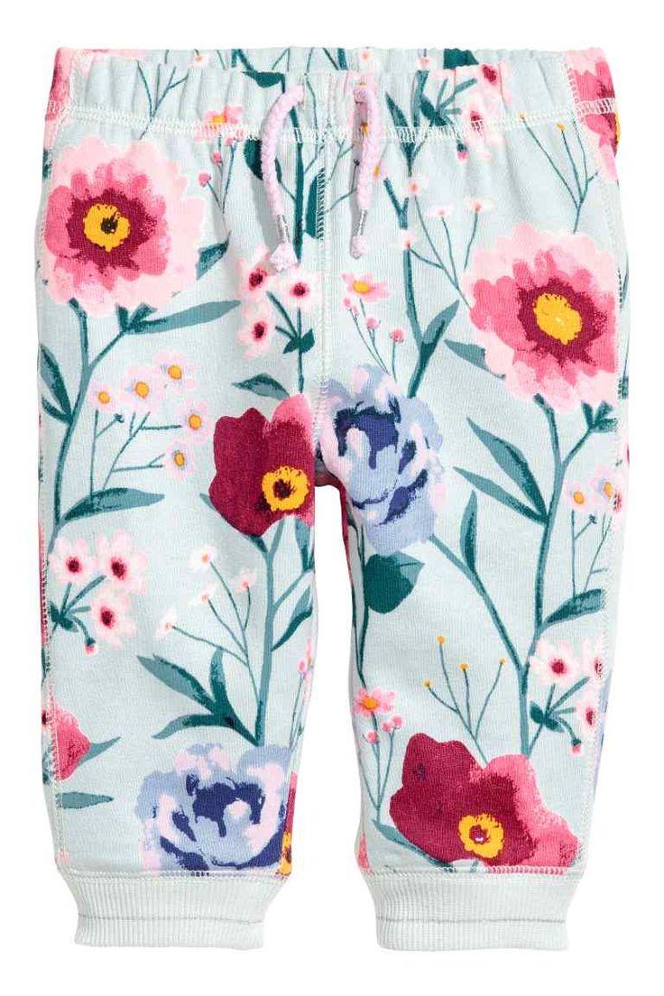 Športové nohavice - tyrkysová/kvetovaná - DETI | H&M SK 1