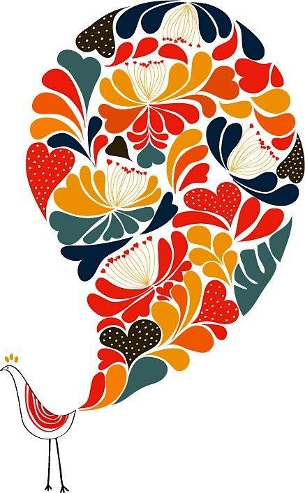 Flower Bird print