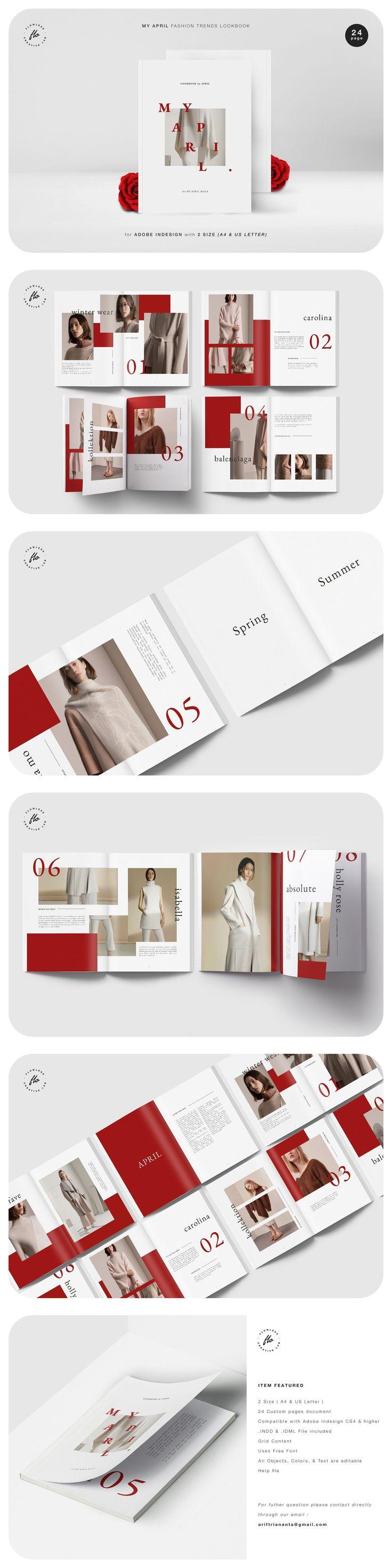 My April - Fashion Lookbook/Magazine Template. A fully editable magazine templat...