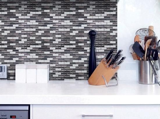 Kitchens White And Grey Peel And Stick Tile White Color Table Best Brown Color Countertop Vinyl Tile Backsplashvinyl