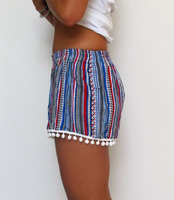 Pom Pom Shorts Aztec Pattern with Large White Pom by ljcdesignss - obsessed