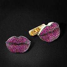 Запонки Губы с рубинами и бриллиантами в желтом золоте 750 пробы (арт. 32645)