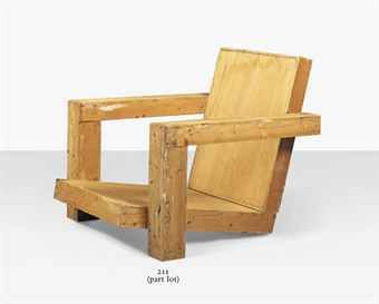 WORKSHOP OF GERRIT THOMAS RIETVELD (1888-1904) & GERARD VAN DE GROENEKAN (1904-1994) A FULL-SIZE MAQUETTE FOR A LOUNGE CHAIR, MID-20TH CENTURY