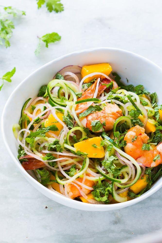 Cucumber Noodle Prawn and Mango Salad (Gluten Free)