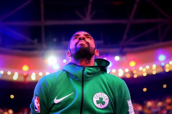 """Kyrie Irving of the Boston Celtics seems to be on in the course of the singing of the nationwide anthem at TD Garden. (Photograph by Maddie Meyer/Getty Pictures)    Earlier than each Boston Celtics tip-off at TD Garden this season, the """"Boston Rising"""" video that options..."""