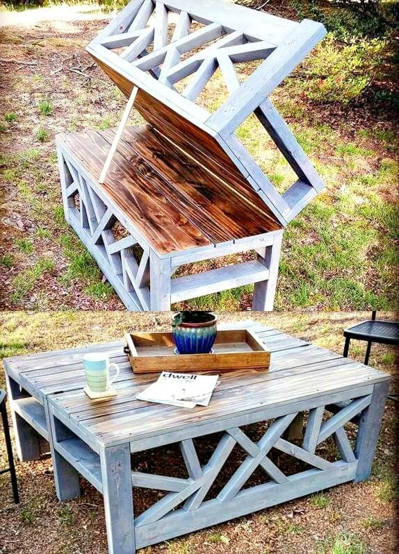 DIY Convertible Bench or Coffee Table For Your Backyard - 110 DIY Backyard Ideas to Try Out This Spring & Summer - DIY & Crafts