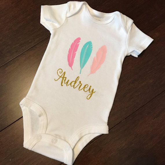 Personalized Name Boho Feather Baby Girl Clothes Onesies Baby Shower Gift Set