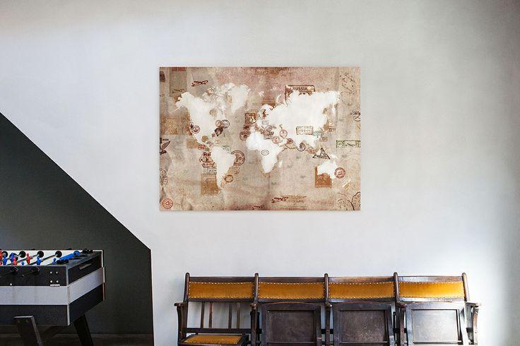 Vintage Stamp Map  #InteriorDesign #travel #WorldOnCanvas #Maps