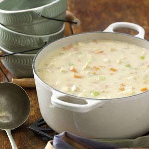 Cheesy Chicken Chowder. This soup is amazing and would be even better served in a garlic flavored bread bowl.