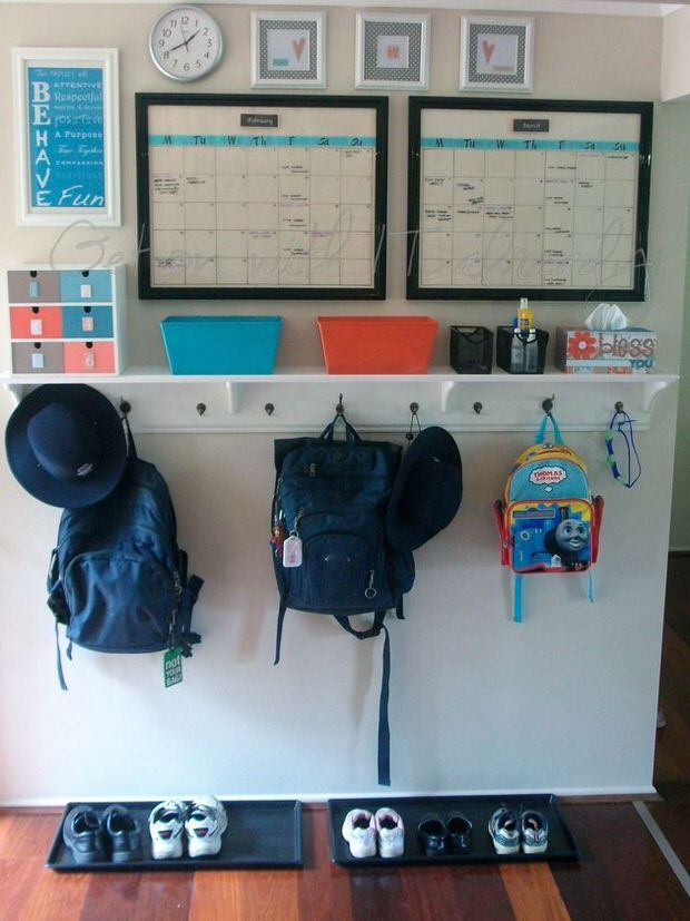 landing pad - shelf with hooks, trays for shoes, bins for wallets, calendar/noteboards,