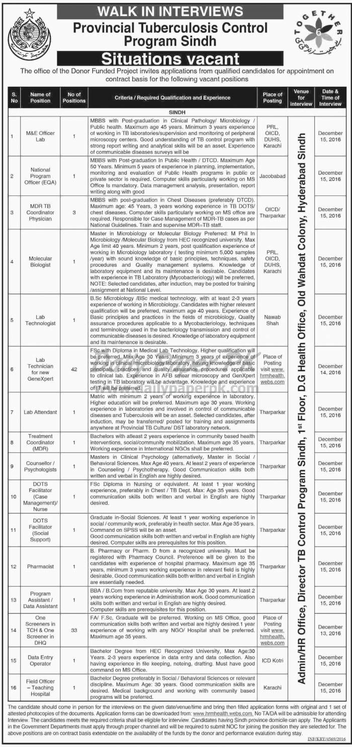 walk in interview in provincial tuberculosis control program sindh for jobs details and how to. Resume Example. Resume CV Cover Letter