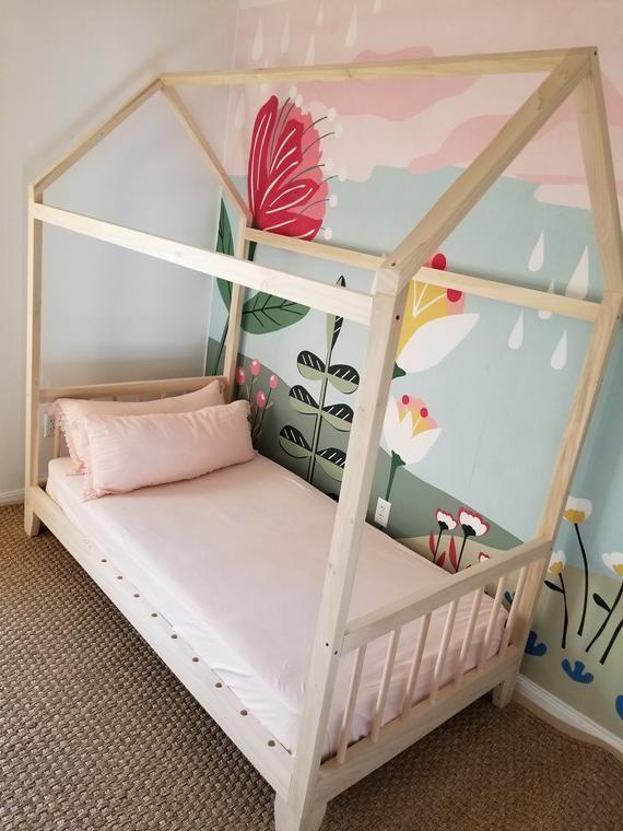 Raised Four Rail Hardwood Montessori Twin Full Toddler House