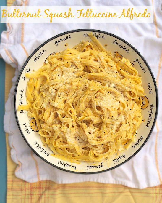 Butternut Squash Fettuccine Alfredo - a healthier and creamy fall version of the classic pasta dish.