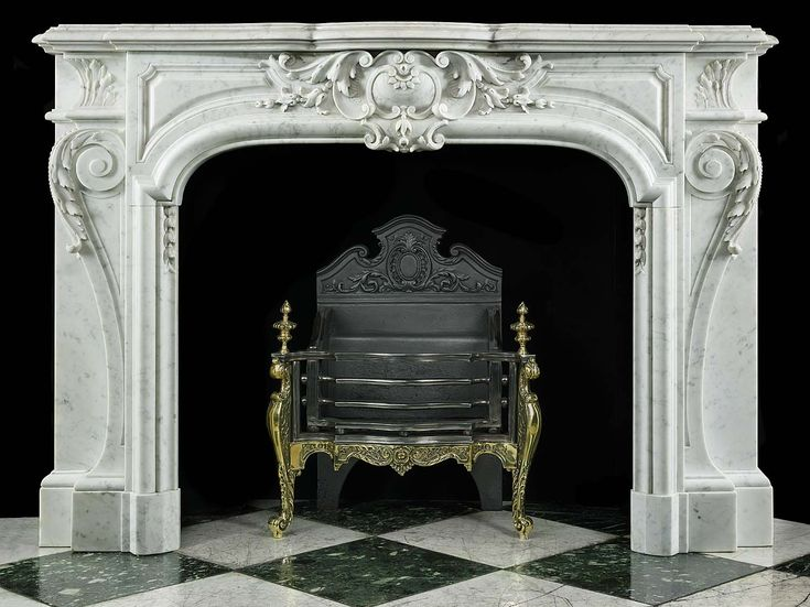 Antique French Rococo Marble Louis XIV Carved Fireplace