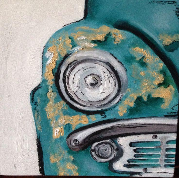 Old car mix media
