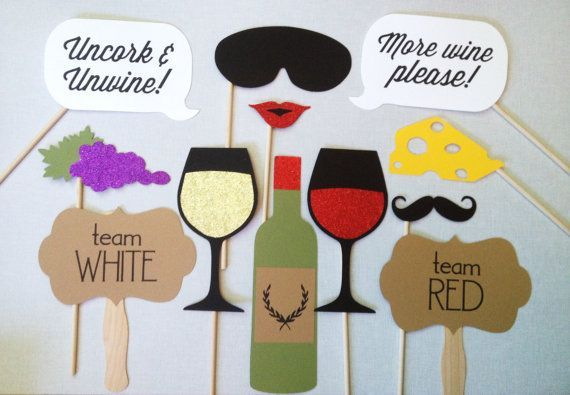 12 Wine Tasting GLITTER Photo Booth Props Wine by CleverMarten